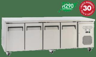 Four Solid Doors Underbench Storage Refrigerators Slimline