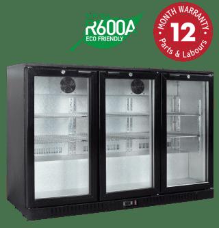 Low Height Backbar Display Refrigerators - Three Swing Doors