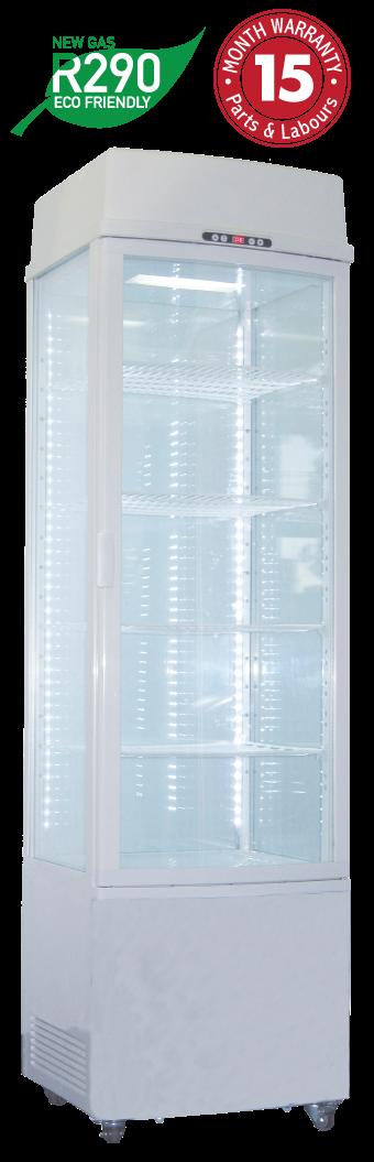 Four Sided Glass Upright Display Refrigerators