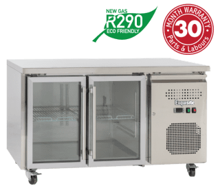 Two Glass Doors Underbench Storage Refrigerators Slimline