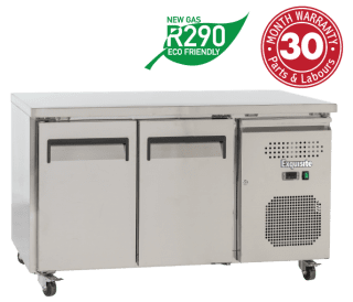 Two Solid Doors Underbench Storage Refrigerators Slimline