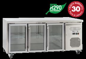 Three Glass Doors Underbench Storage Refrigerators Slimline
