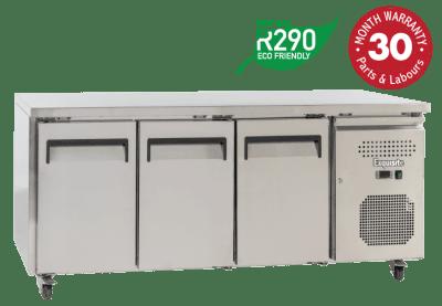 Three Solid Doors Underbench Storage Refrigerators Slimline