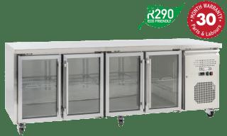 Four Glass Doors Underbench Storage Refrigerators Slimline
