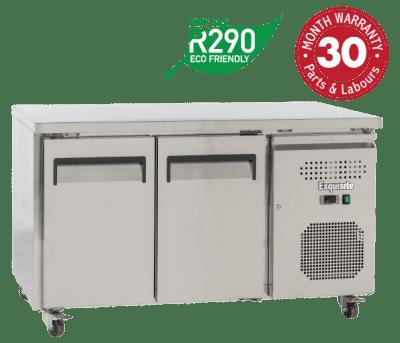 Two Solid Doors Underbench Storage Freezers Slimline