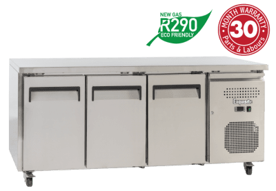 Three Solid Doors Underbench Storage Freezers Slimline